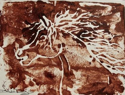 sienna horse linocut debiriley.com