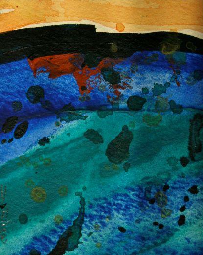 Shadows watercolour landscape viridian and ultramarine landscape debiriley.com