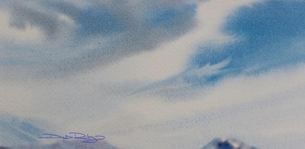 wet in wet watercolour skies, debiriley.com