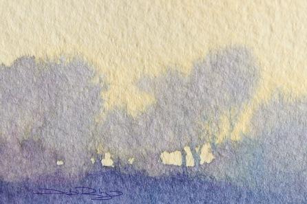 Dawn's Glow, watercolour landscape debiriley.com