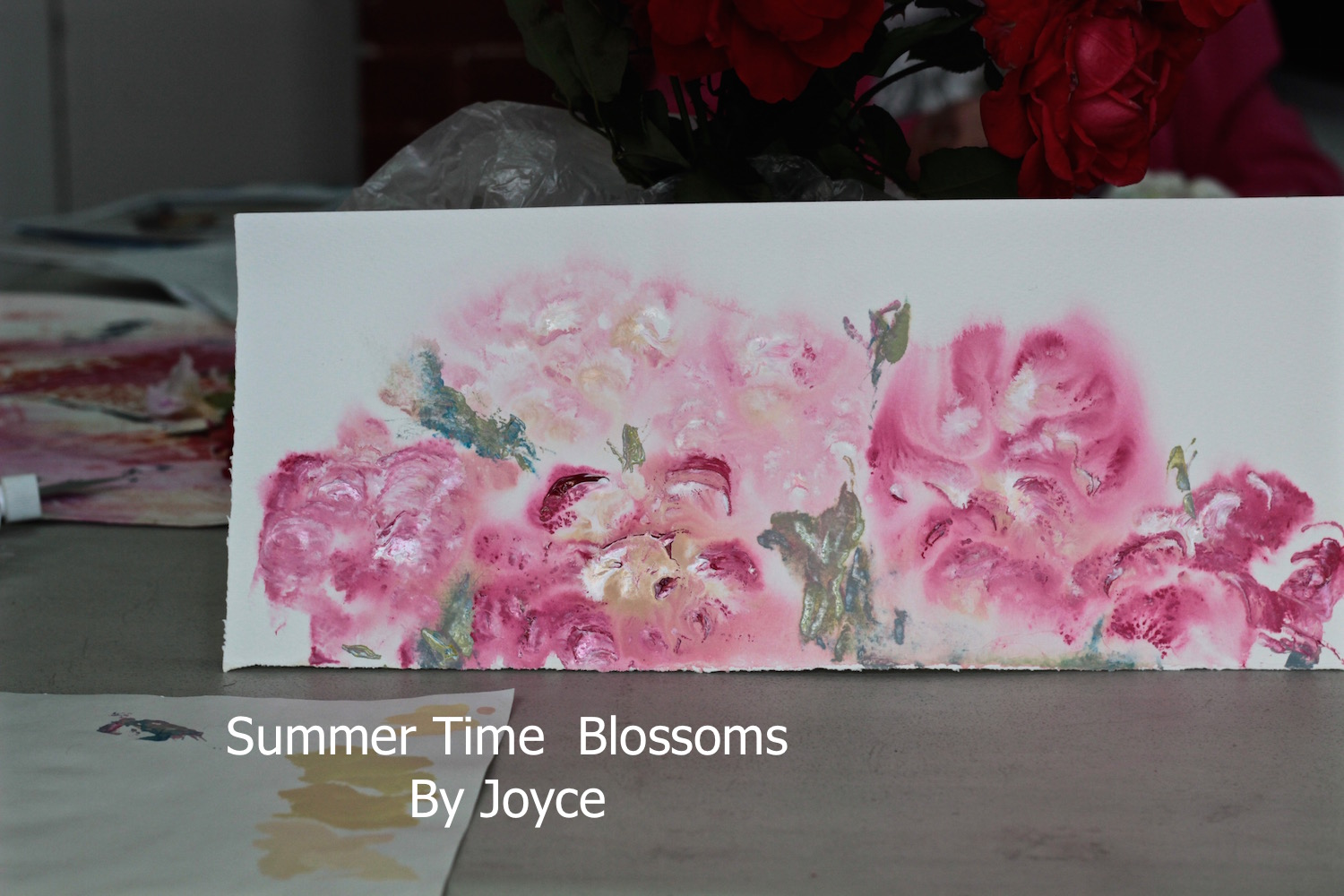 By Joyce - watercolour floral, palette knife