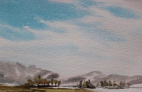 watercolour skies, wet in wet technique beginners, debiriley.com
