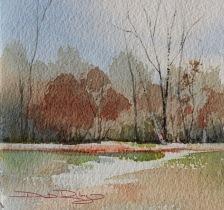 impressionist watercolor landscapes, painting simple trees watercolours, autumn colors, debiriley.com