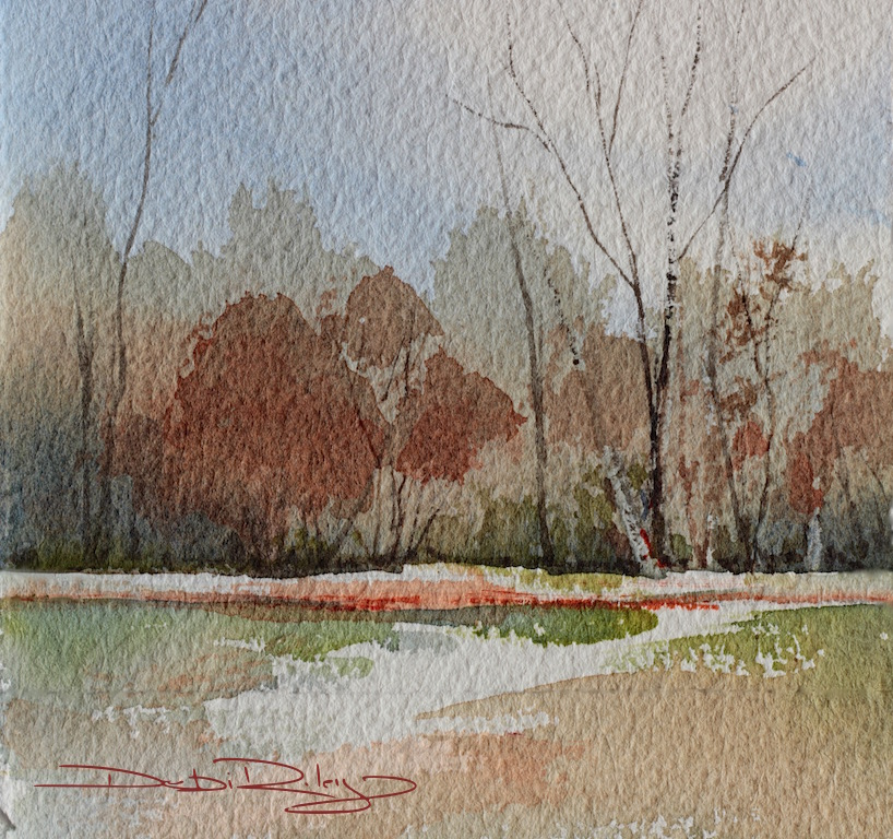 impressionist watercolor landscapes, painting simple trees watercolours, autumn colors, debiriley.com