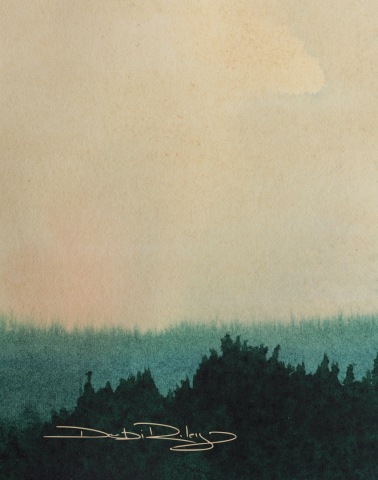 watercolour sky and tree landscape, debiriley.com