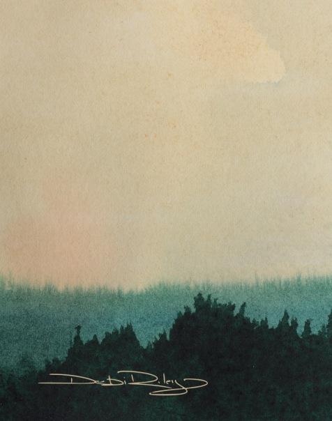 watercolour sky and tree landscape, debiriley.com