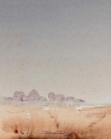 watercolour landscape, cobalt violet, indanthrone, burnt umber, debiriley.com