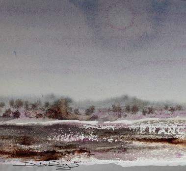 textural watercolour landscape debiriley.com