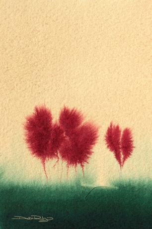 maple trees watercolours,debiriley.com