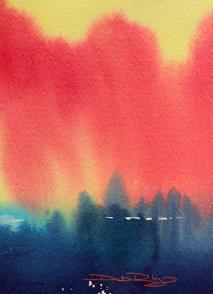 watercolour landscape Firestorm debiriley.com