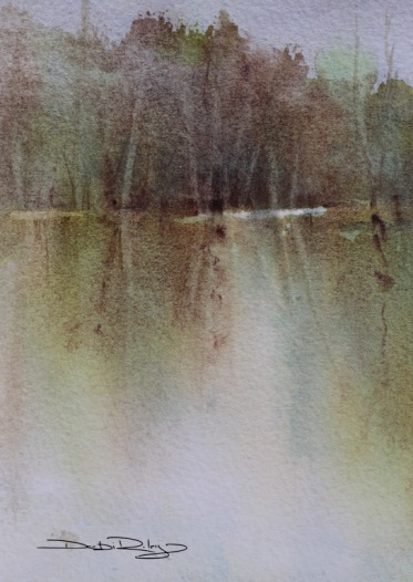 trees reflections watercolours debiriley.com