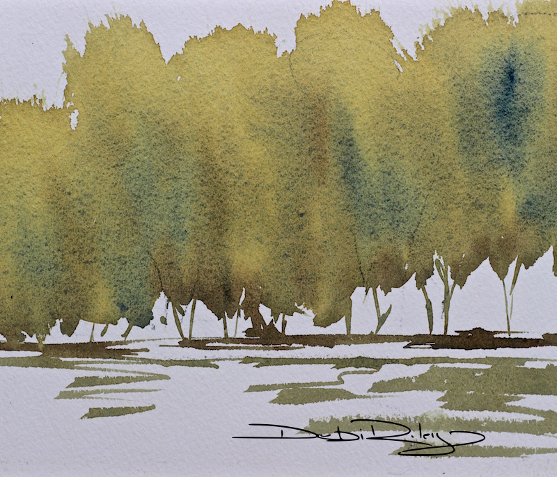 watercolour trees charging technique debiriley.com