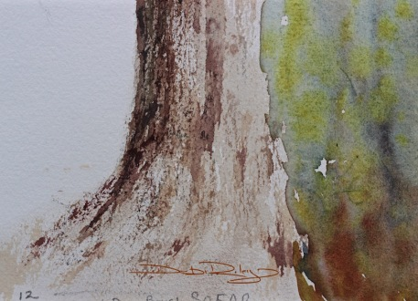 tree bark dry brush watercolours debiriley.com