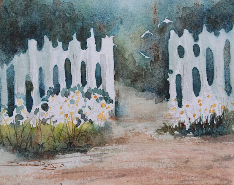 debi riley art, daisies by white cottage fence, watercolor painting, debiriley.com