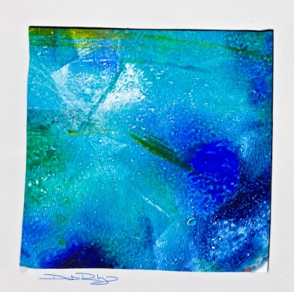 turquoise and blue gelli print, debiriley.com