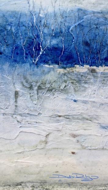 ultramarine pb29, landscape with moulding paste debiriley.com