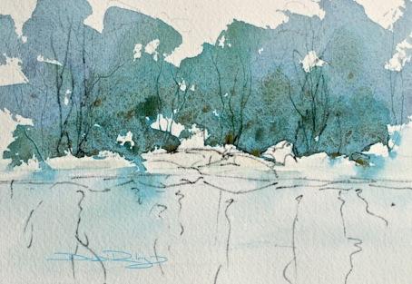 ultramarine blue with cascade green, landscape, debiriley.com