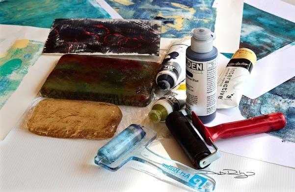 acrylics Matisse, Golden fluid paints, gelli printing, debirley.com