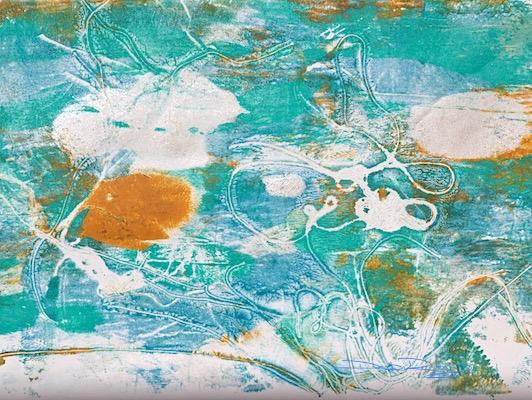 acrylic fluid painting techniques, cobalt teal, gelli plate print, debiriley.com