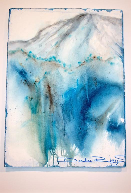 Staining watercolor paints, prussian blue pb27, Impressionist watercolor landscape mountain, granulating paint manganese blue, cerulean blue, debi riley watercolor, debiriley.com