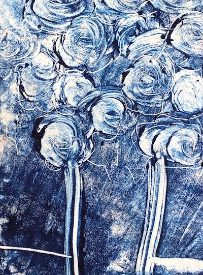 prussian blue flowers mono print debiriley.com