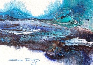 watercolor mixing blues, debiriley.com