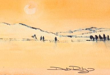 sunset watercolour, naples yellow debiriley.com