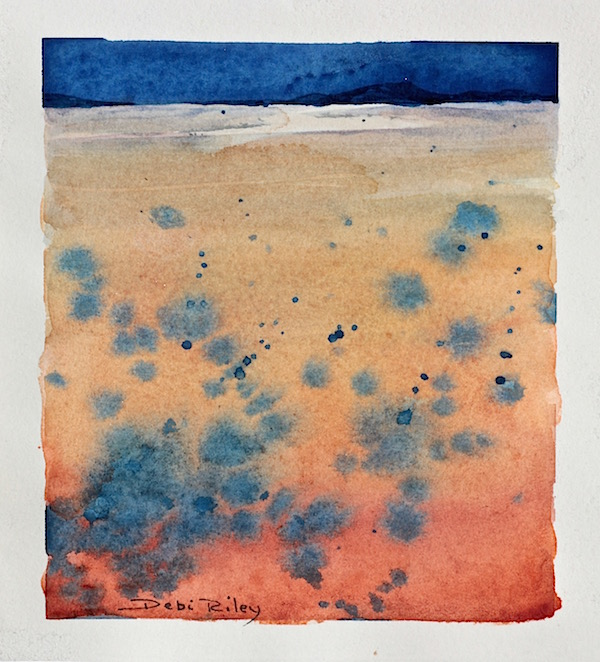 watercolour landscape using blue and orange, debiriley.com
