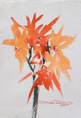 watercolour flowers inspired by orange, debiriley.com