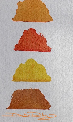 mixing Orange in watercolours, debiriley.com