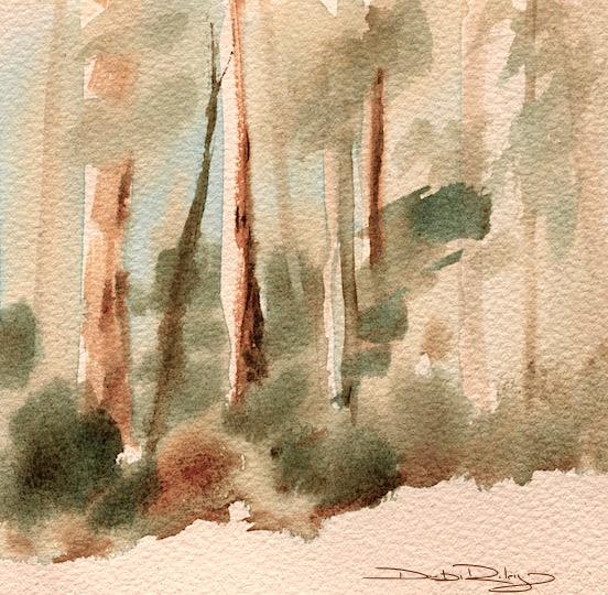 watercolor outdoor painting, plein air watercolor tips, watercolor greens, debiriley.com