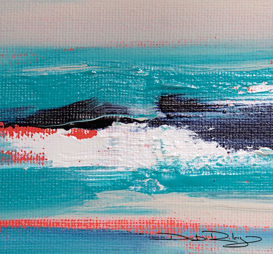 Acrylic Abstract Ocean Painting With Turquoise