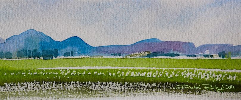 pale sky, watercolor landscape blue mountain painting, debiriley.com