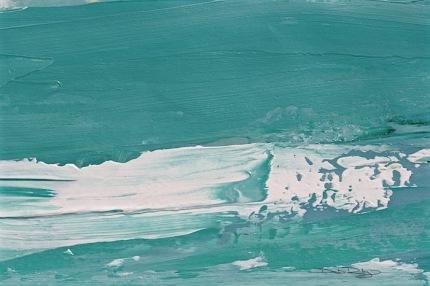 cobalt teal blue ocean wave, acrylics, debiriley.com