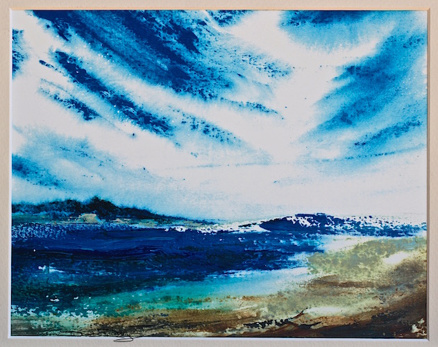 watercolour ocean with palette knife, debiriley.com