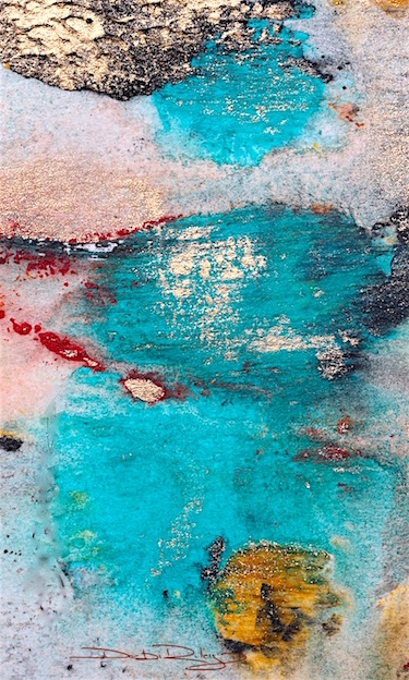 watercolor gold abstract, cobalt teal blue, pools of turquoise, abstract painting, debiriley.com