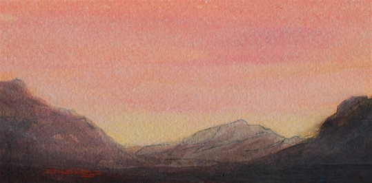 sunset mountain watercolour landscape, debiriley.com