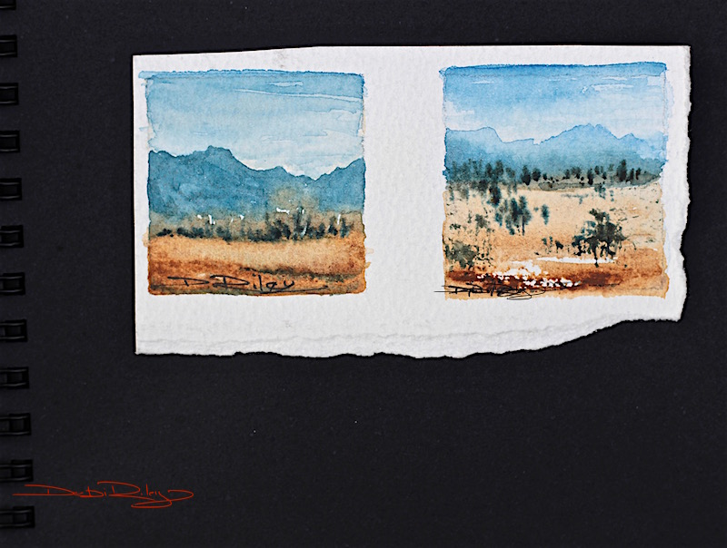 Monday Mountains, watercolour miniature landscapes, debiriley.com