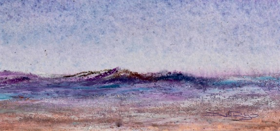 Cobalt Violet purple Mountain pastel landscape, debiriley.com