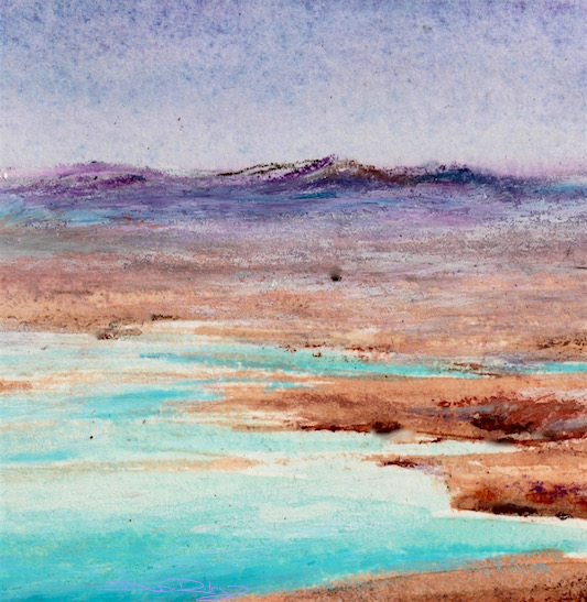 impressionist landscape mountains and water, purple lavender, cobalt teal blue waters painting, debiriley.com
