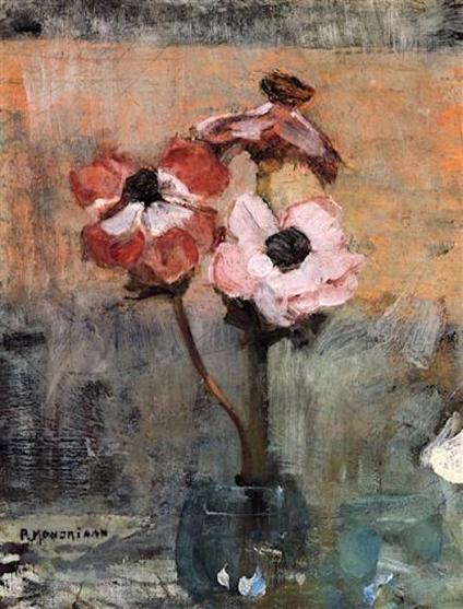 Piet Mondrian painting, pink red flowers, debiriley.com