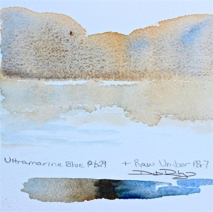 watercolour mountain technique ultramarine blue, debiriley.com