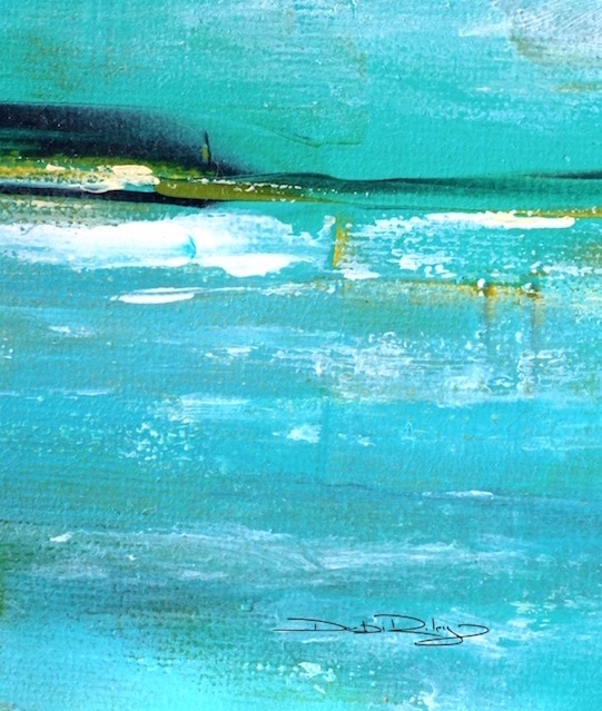 ocean painting in acrylic, turquoise, cobalt teal, debiriley.com