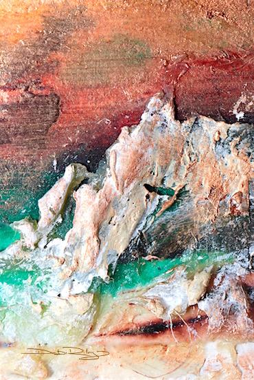 copper sky, viridian water, mixed media, debiriley.com