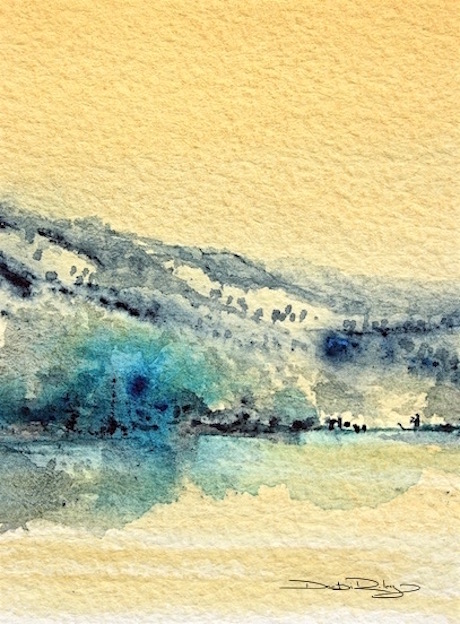 easy beginners watercolor techniques, watercolor landscape painting tips, naples yellow, prussian blue, debiriley.com