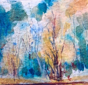 watercolor trees, beginner landscapes, debiriley.com