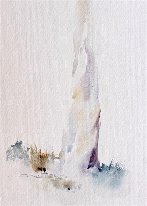 watercolor tree bark, simple tree painting, debi riley