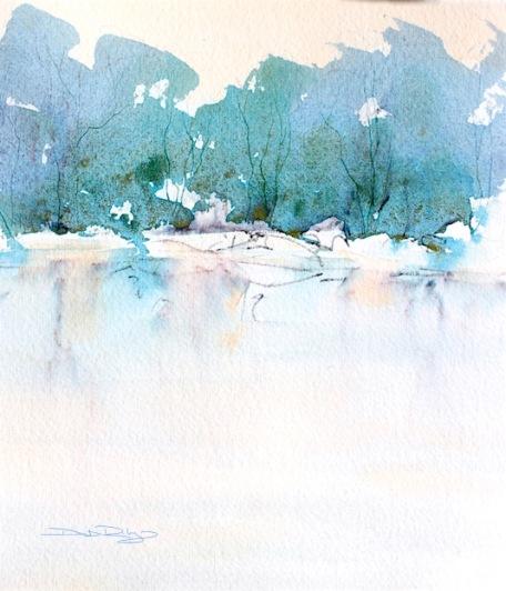 fun and easy, Watercolor landscape and tree Technique, debiriley.com