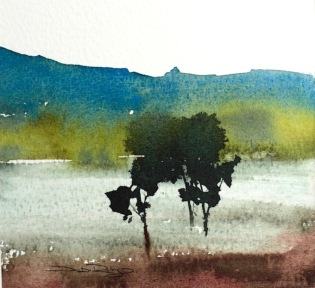 painting watercolor trees, beginners techniques, debiriley.com