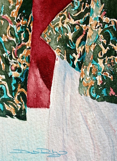 Dancing Curtains Watercolor painting debiriley.com